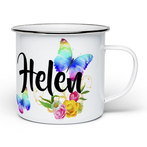 Personalised Beautiful Butterflies & Flowers Novelty Gift Enamel Mug - White